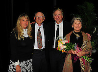 Author Dan Brown backstage with his parents and wife after speaking during a Writers on a New England Stage benefit show at The Music Hall in Portsmouth, NH