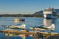 Tourists board float planes for flightseeing near the Ketchikan area, southeast, Alaska.