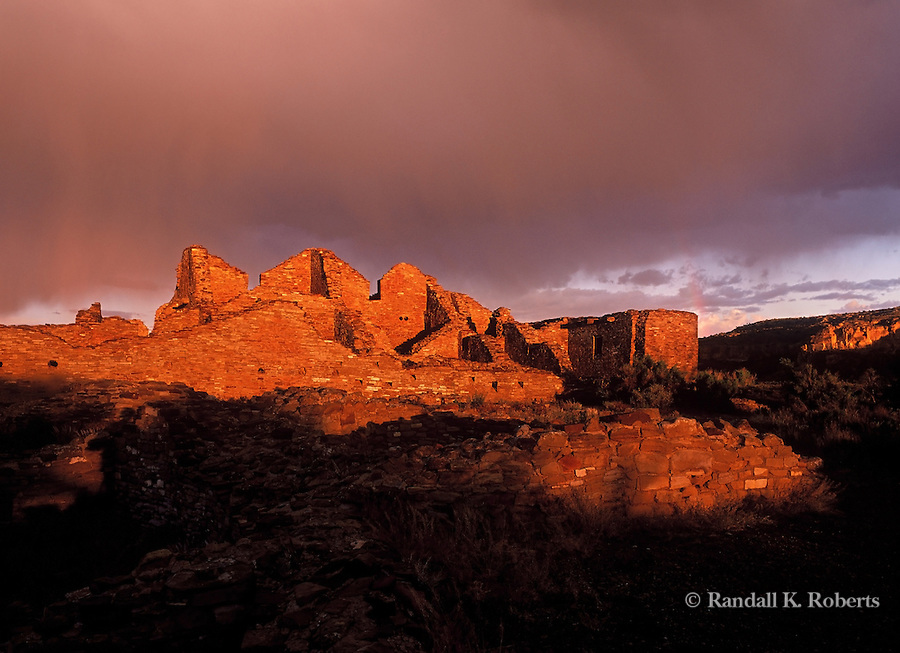 Casa del Arroyo ruin catches the day's last rays, Chaco Culture National Historical Park, New Mexico