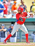 9 March 2012: Philadelphia Phillies outfielder Tyson Gillies in action during a Spring Training game against the Detroit Tigers at Joker Marchant Stadium in Lakeland, Florida. The Phillies defeated the Tigers 7-5 in Grapefruit League action. Mandatory Credit: Ed Wolfstein Photo