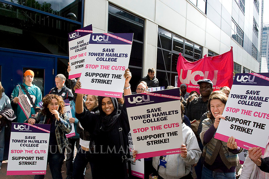 Staff go on strike at Tower Hamlets College over cuts to education in general and the ESOL provision in particular.