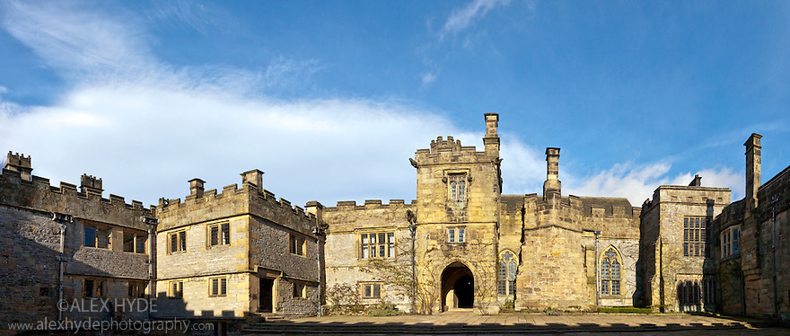 Haddon Hall, Peak District National Park, Derbyshire. Digitally stitched panorama.
