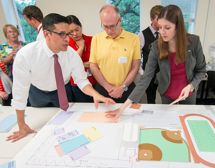 The Bellaire High School Project Advisor Team and PBK architects discuss concepts during a design charrette at Rice University, May 12, 2014.