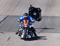 Feb 27, 2016; Chandler, AZ, USA; NHRA top fuel Harley motorcycle rider Jay Turner during qualifying for the Carquest Nationals at Wild Horse Pass Motorsports Park. Mandatory Credit: Mark J. Rebilas-