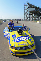 Sept. 29, 2012; Madison, IL, USA: NHRA crew members for pro mod driver Mike Janis during qualifying for the Midwest Nationals at Gateway Motorsports Park. Mandatory Credit: Mark J. Rebilas-