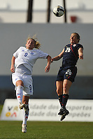 #9 Margret Vitarsdottir of Iceland goes up against #26 Rachel Buehler of the US Women's National Team at Vila Real Sto. Antonio at the Algarve Cup in Portugal. US Women won 2-0.