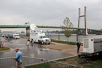 The scene outside the Port of Burlington, along the Mississippi River, after Vice President Joe Biden addressed a campaign rally during a two-day campaign swing through Iowa on Monday, September 17, 2012 in Burlington, IA.