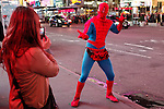 NewYork, United States, October 07, 2011..A man dressed as &quot;spiderman&quot; poses for a picture in Times Square in central Manhattan New York October 7, 2011. VIEWpress / Kena Betancur. .On the 20th day of the &ldquo;Occupy Wall Street&rdquo; protest, Mayor Michael Bloomberg weighed in on the movement. He mostly criticized the group and said their actions are hurting the economy and tourism sector..Local Media Report.