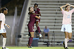 27 September 2012: Florida State's Dagny Brynjarsdottir (ISL) (7) celebrates her goal with Tiffany McCarty (14) as UNC's Katie Bowen (NZL) (15) and Crystal Dunn (19) walk away. The University of North Carolina Tar Heels played the Florida State University Seminoles at Fetzer Field in Chapel Hill, North Carolina in a 2012 NCAA Division I Women's Soccer game. Florida State won the game 1-0.