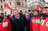Roma, 14 Febbraio  2015<br /> Manifestazione di solidariet&agrave; con la Grecia di Alexis Tsipras e contro le politiche di austerity imposte dalla troika.Maurizio Landini, segretario generale Fiom-Cgil.<br /> Rome, February 14, 2015<br /> Demonstration of solidarity with Greece  of Alexis Tsipras and against austerity policies imposed by the Troika. Maurizio Landini, general secretary of Fiom-CGIL.