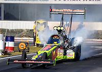 Nov 11, 2016; Pomona, CA, USA; NHRA top fuel driver J.R. Todd during qualifying for the Auto Club Finals at Auto Club Raceway at Pomona. Mandatory Credit: Mark J. Rebilas-USA TODAY Sports