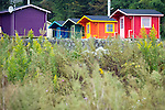 Photo shows rainbow-colored cabins at The Cicada Fort that stands on the tsunami-ravaged land of Takata district in Rikuzentakata, Iwate Prefecture Japan on 08 Oct. , 2013. PHOTO: ROB GILHOOLY