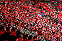 Thousands of young Venezuelans, all dressed in red t-shirts, during the summit of the social and political movement Frente Francisco de Miranda in Caracas, Venezuela, 29 June 2006. Frente Francisco de Miranda is a youth organization, with direct connection to the Venezuelan left-wing parties. Frente Francisco de Miranda claims to fight for poverty eradication and to reach social equality. The movement is protected by the President Hugo Chavez and is loyal to his Bolivarian Revolution ideology.
