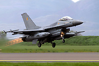 A Dutch F-16 fighter jet takes off. Nato Tiger Meet is an annual gathering of squadrons using the tiger as their mascot. While originally mostly a social event it is now a full military exercise. Tiger Meet 2012 was held at the Norwegian air base Ørlandet.