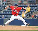 Ole Miss' Brett Huber (38) pitches vs. Houston at Oxford-University Stadium in Oxford, Miss. on Sunday, March 11, 2012. Ole Miss won 11-3 to sweep the three-game series.
