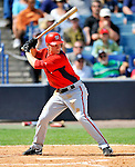 5 March 2011: Washington Nationals' infielder Brian Bixler in action during a Spring Training game against the New York Yankees at George M. Steinbrenner Field in Tampa, Florida. The Nationals defeated the Yankees 10-8 in Grapefruit League action. Mandatory Credit: Ed Wolfstein Photo
