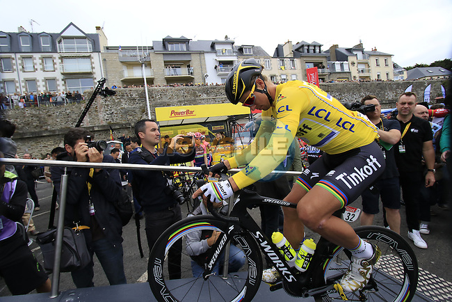 Race leader Yellow Jersey Peter Sagan (SVK) Tinkoff makes his way to sign on before the start of Stage 3 of the 2016 Tour de France, running 223.5km from Granville to Angers, France . 4th July 2016.<br /> Picture: Eoin Clarke   Newsfile<br /> <br /> <br /> All photos usage must carry mandatory copyright credit (&copy; Newsfile   Eoin Clarke)