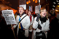 NHS Direct Action protest outsidethe offices of Care International. The demonstration was over the private companies relationship with the Conservatives party and against privatisation in the NHS.