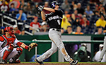 15 August 2008: Colorado Rockies' right fielder Brad Hawpe smacks a 2-run homer in the 5th inning to take a 4-2 lead against the Washington Nationals at Nationals Park in Washington, DC.  The Rockies edged out the Nationals 4-3, handing the last place Nationals their 8th consecutive loss. ..Mandatory Photo Credit: Ed Wolfstein Photo