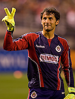 CD Chivas de Guadalajara goalkeeper Luis Michel acknowledges  the fans. El CD Chivas USA and CD Chivas de Guadalajara played to a 0-0 draw at Petco Park stadium in San Diego, California on Tuesday September 14, 2010.