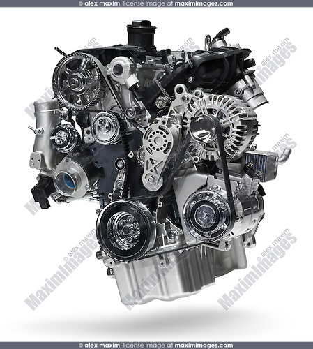 Volkswagen 2.0TSI turbocharged 4-cylinder 200hp engine. Isolated with clipping path on white background.