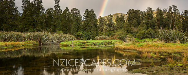 Native forest with rainbow at Lake Mapourika, West Coast, Westland National Park, World Heritage Area, South Westland, New Zealand