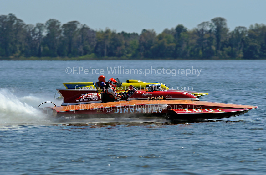 "Roger LaPierre, GP-1001 ""Miss Dinomytes"" (1986 Grand Prix class Lauterbach hydroplane) and Bill Gmeiner,Jr., GP-200 ""Lauterbach Special"", (1976 Grand Prix class Lauterbach hydroplane)"