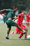 20 June 2009: Kia McNeill (left) of Saint Louis Athletica kicks the ball around Lisa De Vanna (right) of the Washington Freedom.  Saint Louis Athletica were defeated by the visiting Washington Freedom  0-1 in a regular season Women's Professional Soccer game at AB Soccer Park, in Fenton, MO.