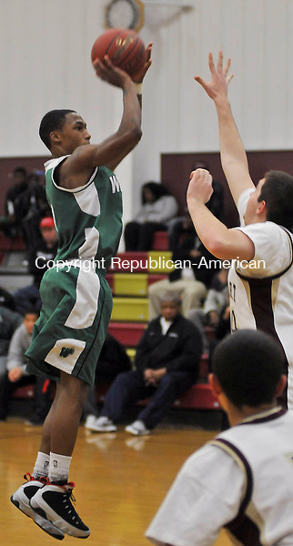 WATERBURY, CT 20 DECEMBER- 122012JS08- Wilby's Walter Wright (1) pots up a shot during their game against Sacred Heart Thursday at Sacred Heart High School in Waterbury. .Jim Shannon Republican American