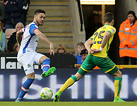 Blackburn Rovers' Derrick Williams tries to get a cross past Norwich City's Ivo Pinto<br /> <br /> Photographer David Shipman/CameraSport<br /> <br /> The EFL Sky Bet Championship - Norwich City v Blackburn Rovers - Saturday 11th March 2017 - Carrow Road - Norwich<br /> <br /> World Copyright &copy; 2017 CameraSport. All rights reserved. 43 Linden Ave. Countesthorpe. Leicester. England. LE8 5PG - Tel: +44 (0) 116 277 4147 - admin@camerasport.com - www.camerasport.com