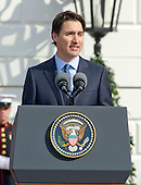 Prime Minister Justin Trudeau of Canada makes remarks during an Arrival Ceremony on the South Lawn of the White House in Washington, DC on Thursday, March 10, 2016. <br /> Credit: Ron Sachs / CNP