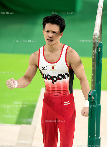 Yusuke Tanaka (JPN),<br /> AUGUST 8, 2016 - Artistic Gymnastics :<br /> Yusuke Tanaka of Japan celebrates after performing on the parallel bars in the Men's Team Final at Rio Olympic Arena during the Rio 2016 Olympic Games in Rio de Janeiro, Brazil. (Photo by Enrico Calderoni/AFLO SPORT)