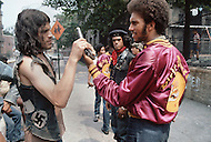 """New York, NY July 1972 - New York street gang """"Savage Skulls"""". The trademark of the primarily Puerto Rican gang was a sleeveless denim jacket with a skull and crossbones design on the back. Based in the Hunts Point area of the  South Bronx, the gang declared war on the drug dealers that operated in the area. Running battles were frequent with rival gangs """"Seven Immortals"""" and """"Savage Nomads"""". Pictured is Savage Skull president FELIPE 'Blackie' MERCADO on the left"""