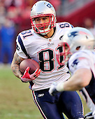 New England Patriots tight end Aaron Hernandez (81) carries the ball after a reception in the fourth quarter against the Washington Redskins at FedEx Field in Landover, Maryland on Sunday December 11, 2011.  The Patriots won the game 34 - 27..Credit: Ron Sachs / CNP.(RESTRICTION: NO New York or New Jersey Newspapers or newspapers within a 75 mile radius of New York City)