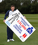 Lee McCulloch with the Rangers Charity Foundations's £31k donation to Prostate Cancer UK