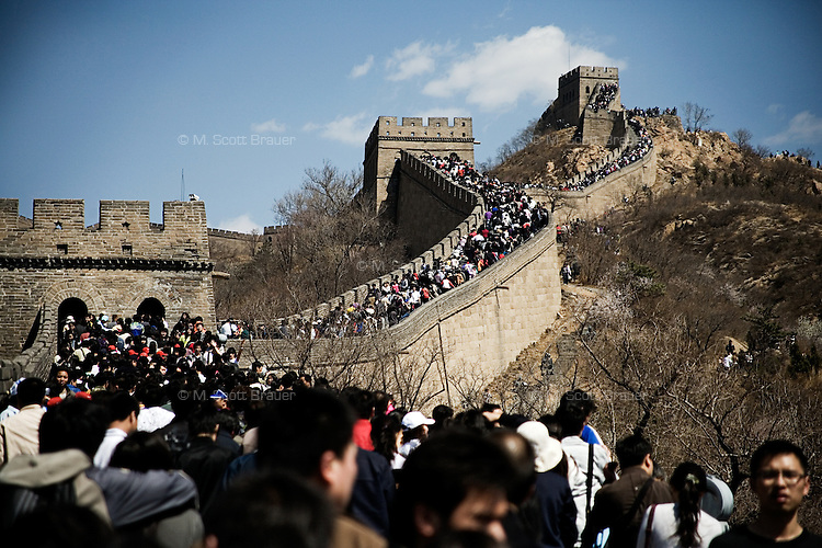 Tourists ascend the Great Wall at Badaling outside of Beijing, China.