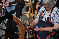 Yarn spinning in the Market Place. Wallingford Bunkfest 2013.