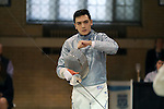 11 February 2017: Duke's Duncan De Caire prepares for a Saber match. The Duke University Blue Devils hosted the Boston College Eagles at Card Gym in Durham, North Carolina in a 2017 College Men's Fencing match. Duke won the dual match 18-9 overall, 9-0 Foil, and 6-3 Saber. Boston College won Epee 6-3.