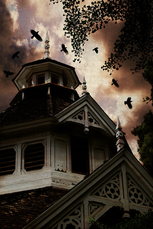Crows near a Victorian carriage house can sense an approaching storm.