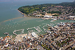 Aerial, Harbour, Yacht haven, Ferry Terminal, Town, Cowes, Isle of wight, England,UK, Photographs of the Isle of Wight by photographer Patrick Eden