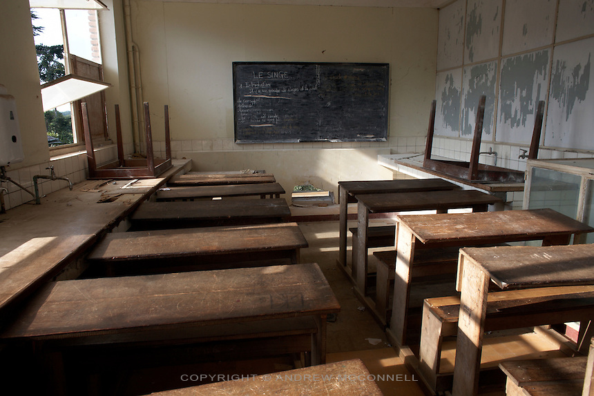 A room in one of the buildings is turned in to a classroom for local children, in Yangambi, DR Congo, on Saturday, Dec. 6, 2008. Many of the skeleton crew who maintain Yangambi teach local children as there is no real science being carried out at the station.