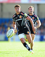 Henry Slade of Exeter Chiefs chases after the ball. Aviva Premiership match, between Exeter Chiefs and Saracens on September 11, 2016 at Sandy Park in Exeter, England. Photo by: Patrick Khachfe / JMP