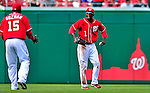 25 April 2010: Washington Nationals' outfielder Nyjer Morgan gets the final out of the game for a win against the Los Angeles Dodgers to cap their 10 game homestand at Nationals Park in Washington, DC. The Nationals shut out the Dodgers 1-0 to take the rubber match of their 3-game series. Mandatory Credit: Ed Wolfstein Photo