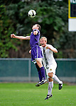 11 September 2009: University of Portland Pilots' forward Ryan Luke (8), a Junior from Bothell, WA, jumps to head he ball away from University of Vermont Catamount midfielder Kyle Luetkehans (10), a Junior from LaGrange, IL, in the first round of the 2009 Morgan Stanley Smith Barney Soccer Classic held at Centennial Field in Burlington, Vermont. The Catamounts and Pilots battled to a 1-1 double-overtime tie. Mandatory Photo Credit: Ed Wolfstein Photo