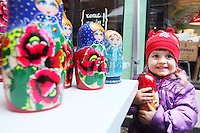 NO REPRO FEE. 6/3/2011. RUSSIAN CULTURAL FESTIVAL. Inessa Lagodina aged 2 and a half from Raheny is pictured with babushka dolls at the Festival of Russian Culture family day at Cows Lane , Temple Bar, Dublin. Picture James Horan/Collins Photos
