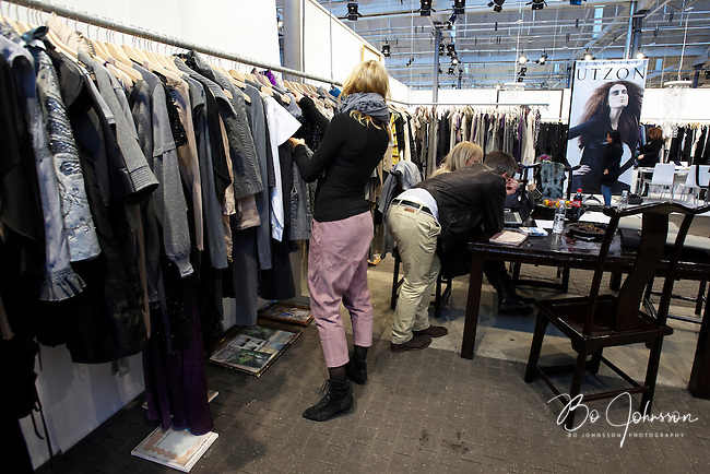 Andersen &amp; Lauth (Reykjavik Iceland, www.andersenlauth.com) and in the background Benedikte Utzon (Denmark, www.benedikteutzon.dk) during the fashion fair &quot;CPH Vision&quot; in Oksnehallen. Copenhagen Fashion Week.<br /> February 2009.<br /> Only for editorial use.