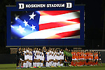 15 October 2016: The players and referees during the playing of the national anthem. The Duke University Blue Devils hosted the University of Virginia Cavaliers at Koskinen Stadium in Durham, North Carolina in a 2016 NCAA Division I Women's Soccer match. Duke won the game 1-0.