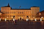 The Royal Palace of Turin, Italy at night