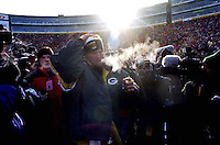 """Green Bay Packers quarterback Brett Favre leaves Lambeau Field after the Packers defeated the Carolina Panthers 30-13 in the NFC Championship on January 12, 1997. This was the first title game in Green Bay since the """"Ice Bowl"""" in 1967."""