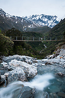 Swingbridge over Tekano Creek near Douglas Hut in Copland Valley, Westland Tai Poutini National Park, UNESCO World Heritage Area,  West Coast, New Zealand, NZ